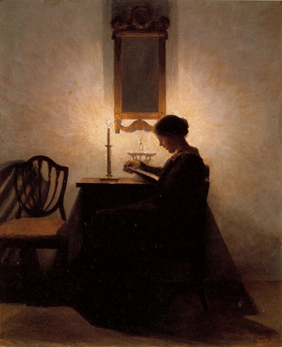 Peter Vilhelm Ilsted Woman Reading by Candlelight 1908