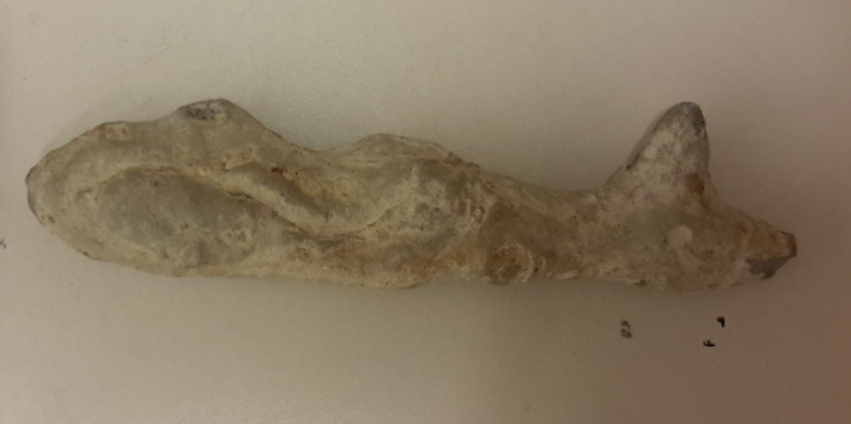 A rather charming pseudofossil fish, complete with fins on its tail and back (from the Hofland museum collection)